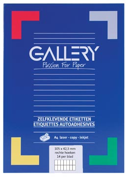 Gallery witte etiketten ft 105 x 42,3 mm (b x h), rechte hoeken, doos van 1.400 etiketten