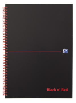Oxford BLACK N' RED spiraalblok karton, 140 bladzijden ft A4, geruit 5 mm