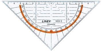 Linex geodriehoek 1616G, 16 cm