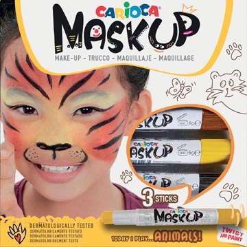 Carioca maquillagestiften Mask Up Animals, doos met 3 stiften