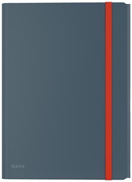 Leitz Cosy elastomap met 3 kleppen, met opbergvak met drukknoppsluiting, uit PP, ft A4, grijs