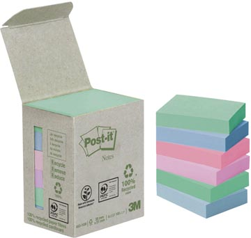 Post-it Notes gerecycleerd, ft 38 x 51 mm, geassorteerde kleuren, 100 vel, toren van 6 blokken