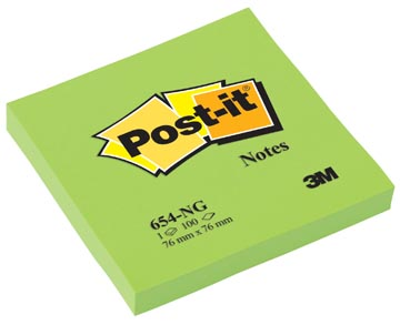 Post-it Notes, ft 76 x 76 mm, neongroen, blok van 100 vel