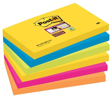 Post-it Super Sticky notes Rio, ft 76 x 127 mm, 90 vel, pak van 6 blokken