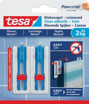 Tesa Klevende Spijker Canvas, draagkracht 2 kg, tegels en metaal, wit, 2 spijkers en 3 strips