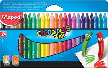 Maped waskrijt Color'Peps Wax, doos van 24 stuks in geassorteerde kleuren