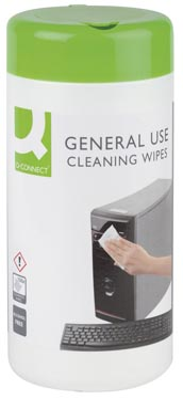 Q-Connect reinigingsdoekjes voor telefoon, multifunctioneel gebruik, pak van 100 doekjes