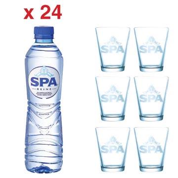 ACTIE SPA: 2 x Spa Reine, 50 cl, 24 stuks (ref. 51794) + GRATIS 1 x Spa glas, 6 stuks (ref. SPAGLAS)